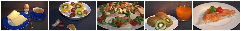 Jodreiche Ernährung: Eier, Käse, Milch, Feldsalat, Kiwi und Lachs gewährleisten eine gute Jodversorgung.