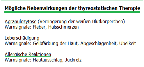 Nebenwirkungen der thyreostatischen Therapie beim Morbus Basedow