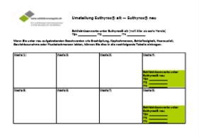 Screenshot Formular Umstellung Euthyrox alt/Euthyrox neu